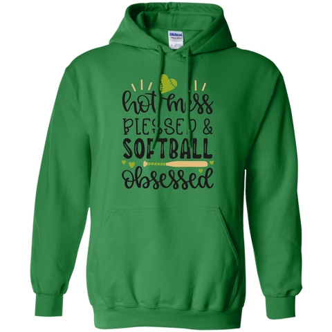 Hot Mess Blessed & Softball Obsessed Hoodie