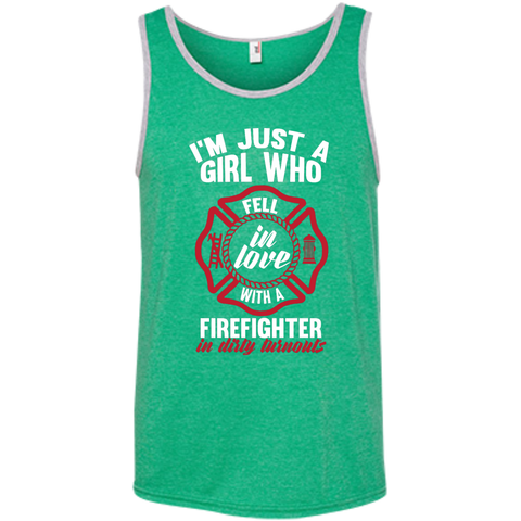 Girl Fell in love with a firefighter 100% Ringspun Cotton Tank Top