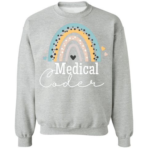Medical coder rainbow Crewneck Pullover Sweatshirt