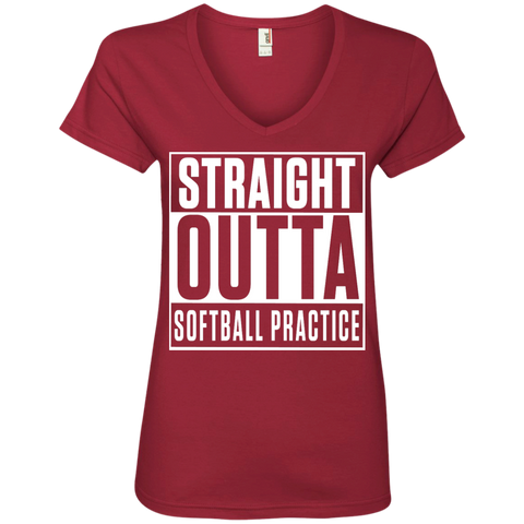 Straight Outta Softball Practice Ladies V-Neck Tee