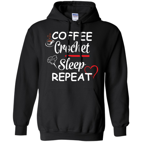 Coffee Crochet Sleep Repeat Hoodie 8 oz