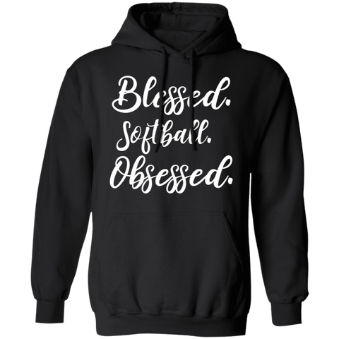 Blessed softball obsessed Pullover Hoodie 8 oz.