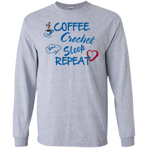 Coffee Crochet Sleep Repeat   LS   T-Shirt