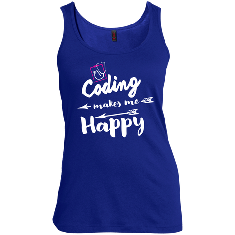 Coding makes me happy  Women's Scoop Neck Tank Top