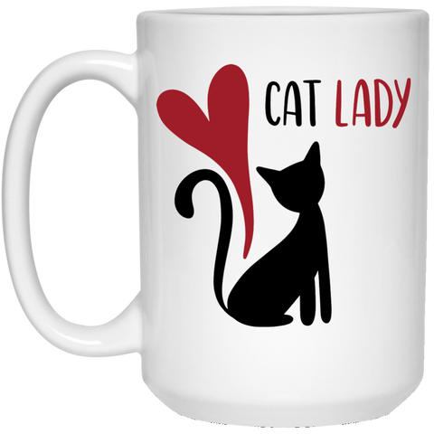 Cat Lady 15 oz. White Mug