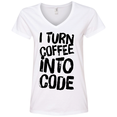 I Turn Coffee into code V-Neck Tee