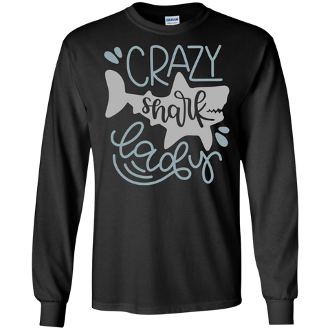 Crazy Shark Lady  LS Tshirt