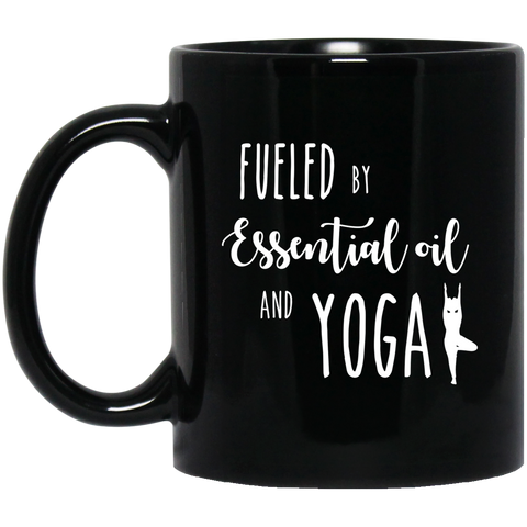 fueled by essential oil and yoga .  11 oz. Black Mug