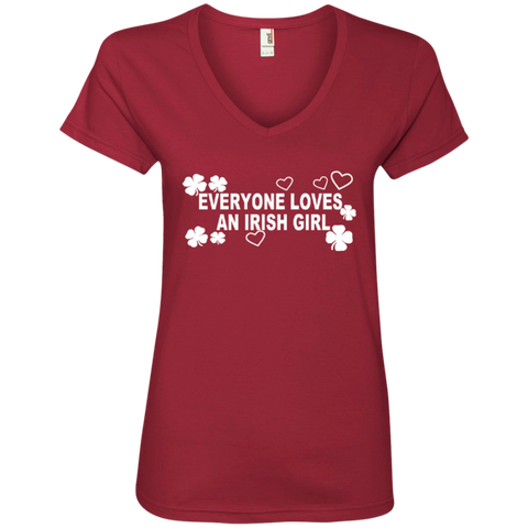 Everyone Loves An Irish Girl Ladies' V-Neck Tee