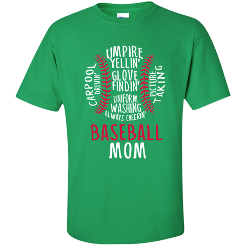 Baseball Mom Always Cheering Cotton T-Shirt