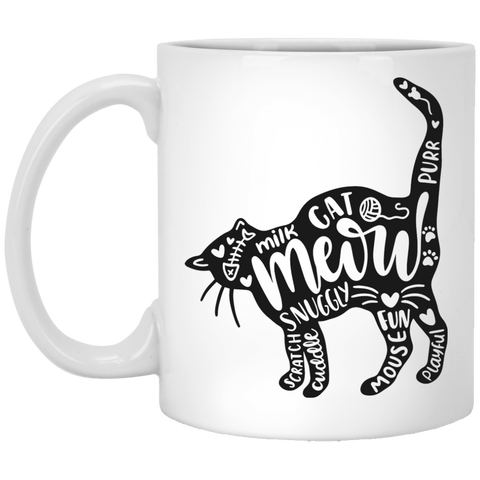 Cat and words  11 oz. White Mug