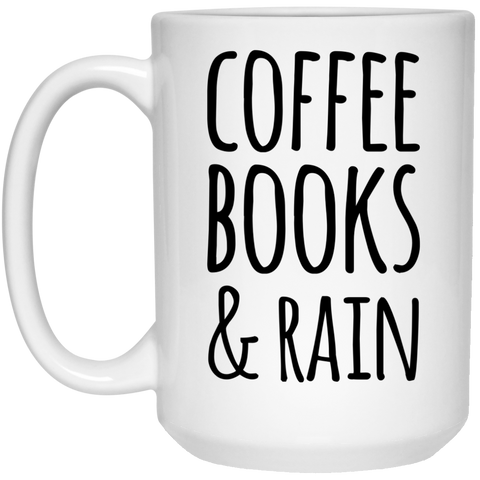 Coffee Books & Rain Mug - 15oz