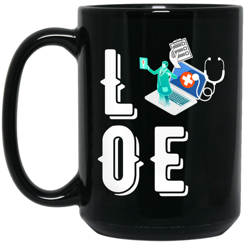 Love medical coder  15 oz. Black Mug