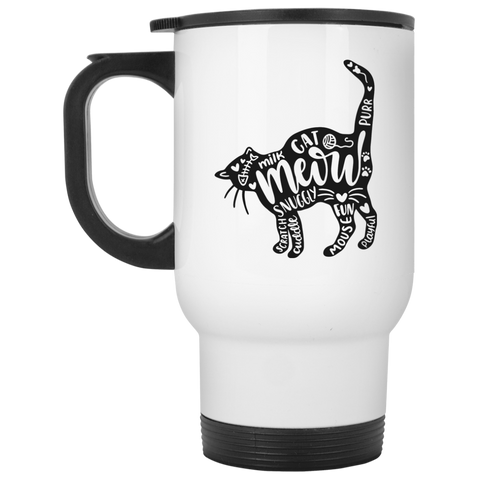 Cat and words White Travel Mug