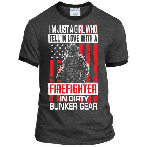 I'm Just a Girl Who Fell in Love with a Firefighter in Dirty Bunker Gear Ringer Tee