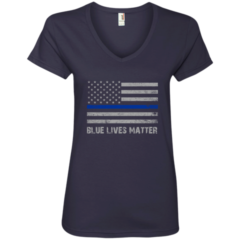 Blue Lives Matter Ladies' V-Neck Tee