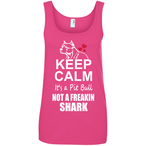 Keep Calm its a Pit Bull not a Freaking Shark Ladies' 100% Ringspun Cotton Tank Top