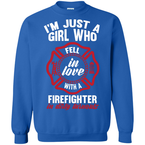 Girl Fell in love with a firefighter  Crewneck Pullover Sweatshirt  8 oz