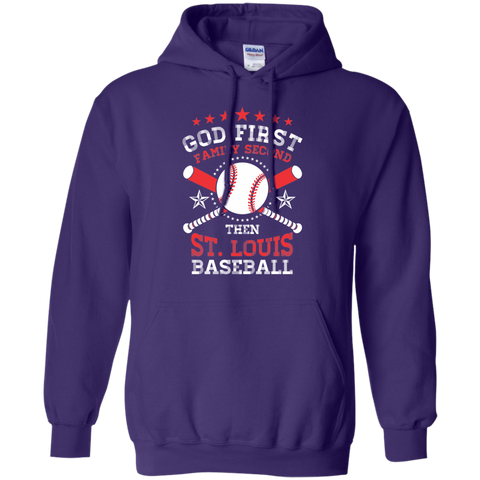 God First Family Second then St Louis Baseball Hoodie 8 oz