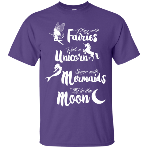 Fairies Unicorn Mermaids and Moon Cotton T-Shirt