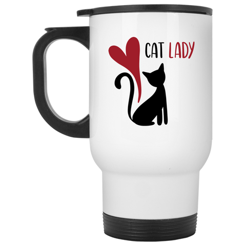 Cat Lady White Travel Mug