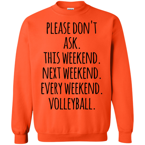 Please don't ask. This weekend . Next Weekend . Every weekend. Volleyball .  Sweatshirt