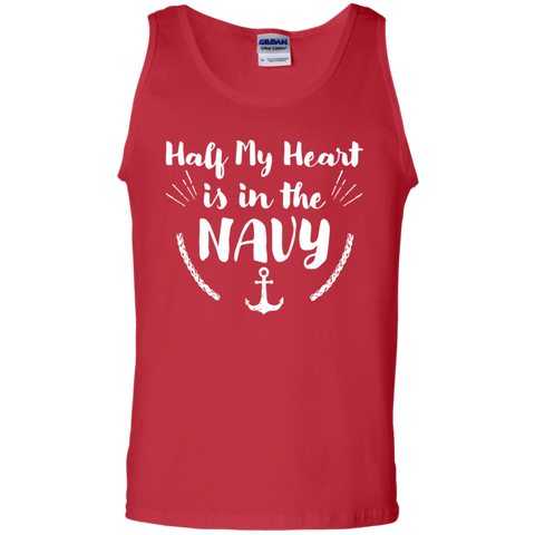 Half of My heart in the Navy  Cotton Tank Top