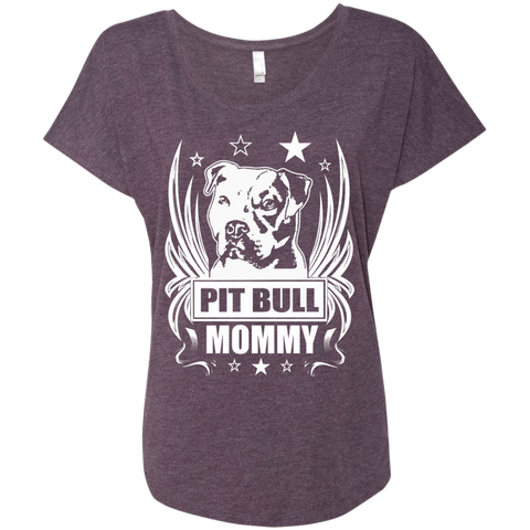 Pit Bull Mommy Next Level  Ladies Triblend Dolman Sleeve