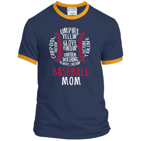 Baseball Mom Always Cheering Ringer Tee