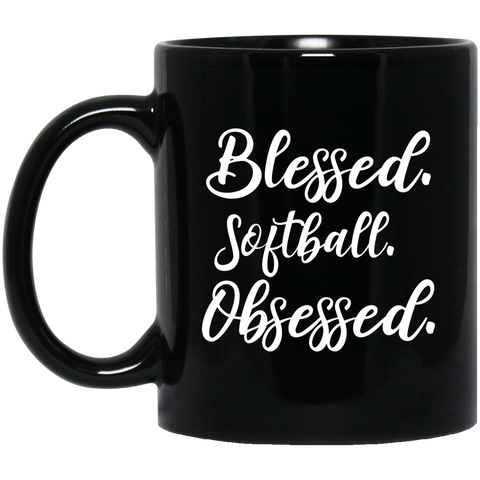 Blessed softball obsessed 11 oz. Black Mug