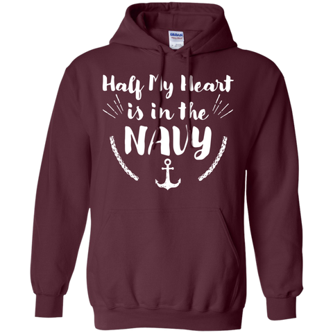 Half of My heart in the Navy  Hoodie 8 oz