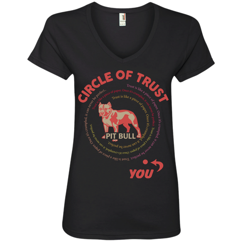 Circle of trust Pit Bull Ladies  V-Neck Tee