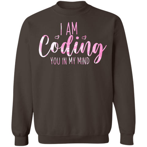 coding you in my mind   Crewneck Pullover Sweatshirt  8 oz.