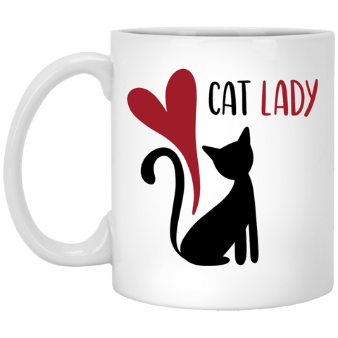 Cat Lady 11 oz. White Mug