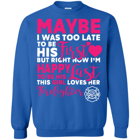 This Girl Loves her Firefighter Special Crewneck Pullover Sweatshirt  8 oz