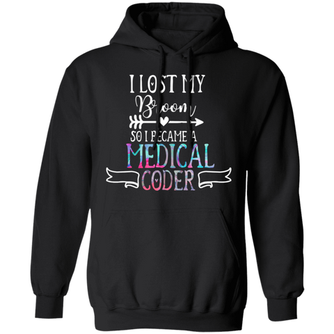 Medical coder halloween lost broom  Pullover Hoodie 8 oz.
