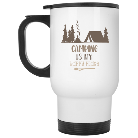 Camping is my Happy Place   White Travel Mug
