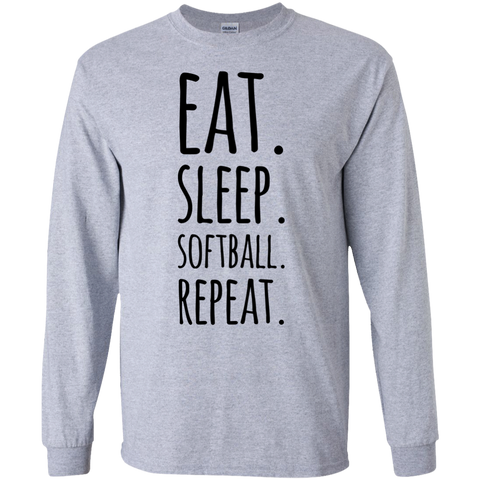 Eat  Sleep Softball affordable LS   Tshirt