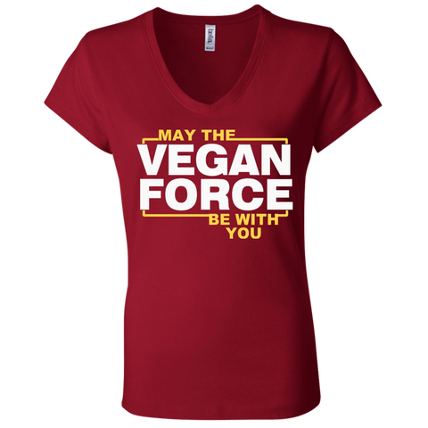 May The vegan force be with you  Bella + Canvas Ladies Jersey V-Neck T-Shirt