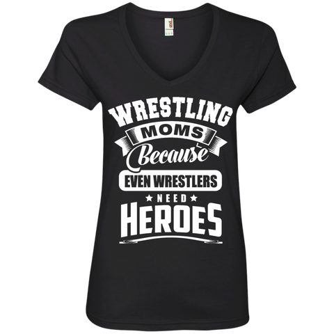 Wrestling Moms Because even wrestlers need heroes  V-Neck Tee