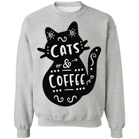 Cat and Coffee Crewneck Pullover Sweatshirt