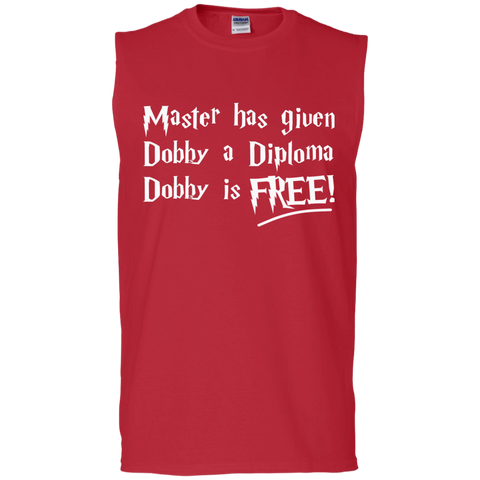 Master has given dobby a diploma dobby is free Men's  Cotton Sleeveless Tee