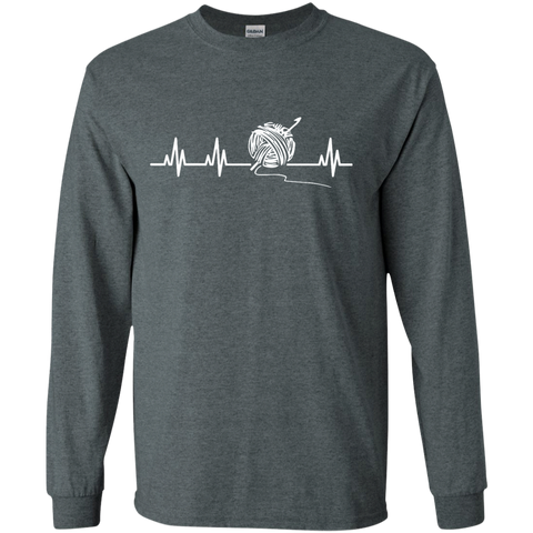 Crochet Heartbeat LS   T-Shirt