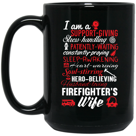 Firefighter's wife poem   15 oz. Black Mug