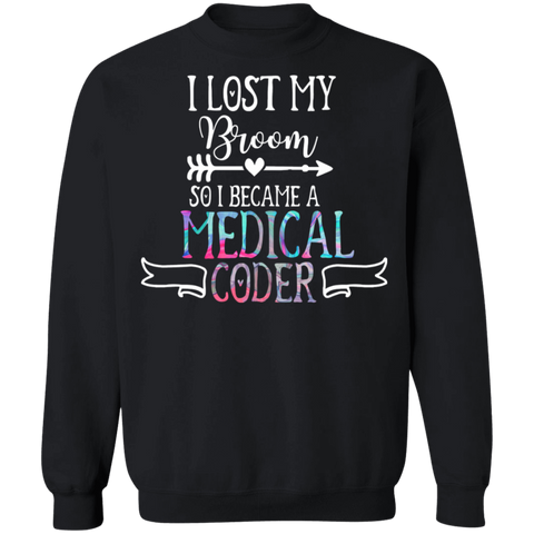 Medical coder halloween lost broom   Crewneck Pullover Sweatshirt  8 oz.