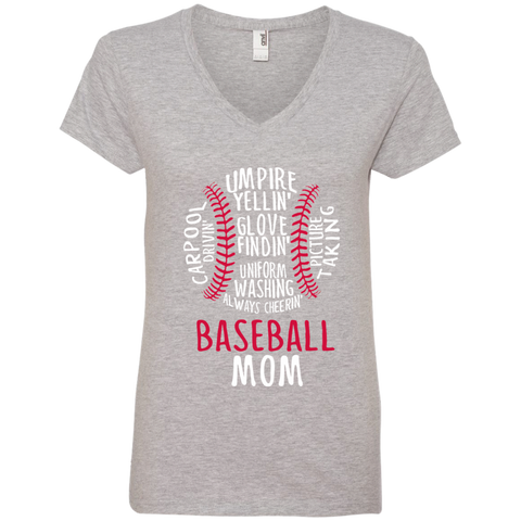 Baseball Mom Always Cheering Ladies' V-Neck Tee