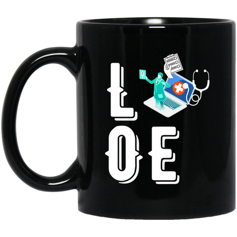 Love medical coder  11 oz. Black Mug