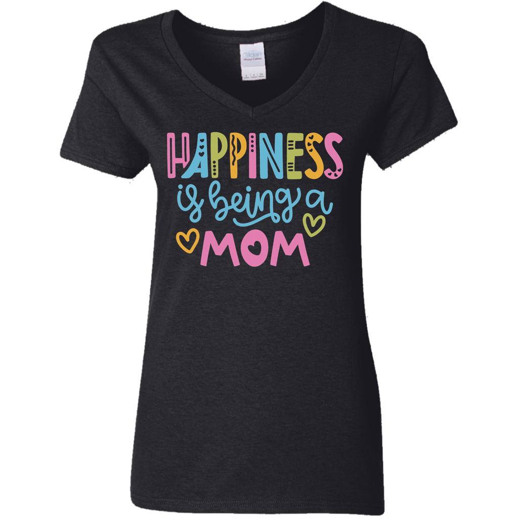 Happiness is being a Mom Ladies' 5.3 oz. V-Neck T-Shirt