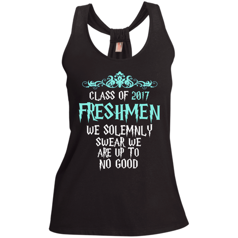 Class of 2017 Freshmen We Solemnly Swear We Are Up to No Good Ladies Shimmer Loop Back Tank