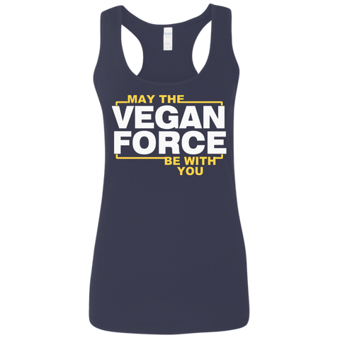 May The vegan force be with you   Gildan Ladies' Softstyle Racerback Tank